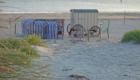Norderney - Strand mit Strandkörben und Umkleidewagen